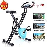 ANCHEER F-Bike Klappbar Hometrainer, Advanced Heimtrainer mit APP LCD-Display, Fitness Fahrrad mit...