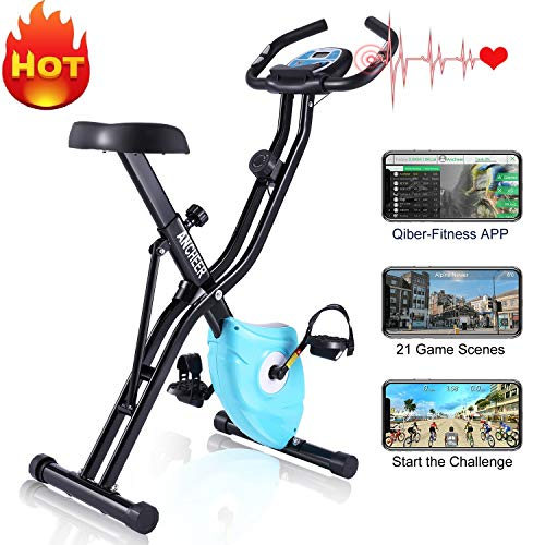 ANCHEER F-Bike Klappbar Hometrainer, Advanced Heimtrainer mit APP LCD-Display, Fitness Fahrrad mit 10 Widerstandsstufen, Handpulssensoren für Zuhause Büro Training