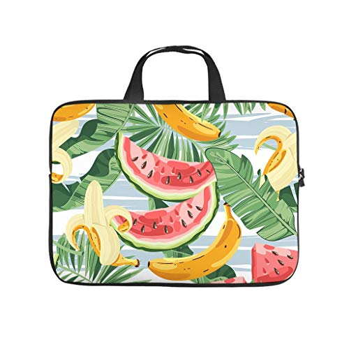 Tropical Fruit Green Plant Leaf Full Print Laptop Bag Protective Case Durable Neoprene Laptop Bag Cover Cute Notebook Bag Bag for Business People Office Personnel