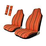 Copap 4pc Universal Orange Stripe Colorful Front Seat Cover Baja Bucket with Seat-Belt Pad Protect for Car, SUV & Truck (2 seat Covers+2 seat Belt Covers)