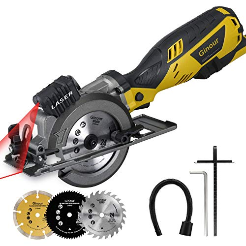 "Ginour 4-1/2"" Compact Electric Circular Saw Set, 5.8A Circular Saw with Laser Guide, 3 Saw Blades and Scale Ruler Ideal for Wood, Soft Metal, Tile and Plastic Cuts"