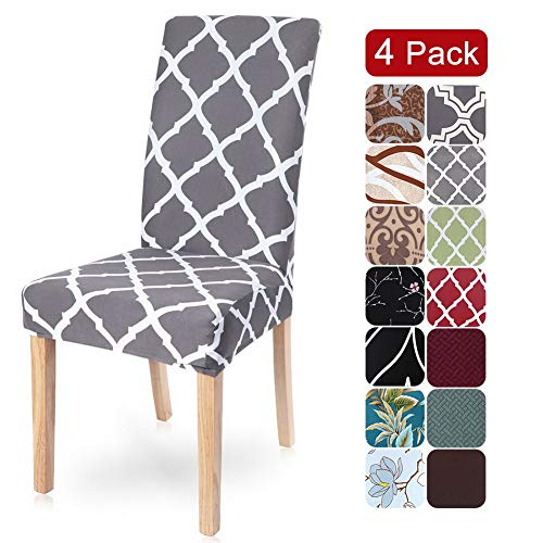 SearchI Dining Room Chair Covers Slipcovers Set of 4, Spandex Fabric Fit Stretch Removable Washable Short Parsons Kitchen Chair Covers Protector for Dining Room, Hotel (Gray+White, 4 per Set)