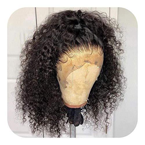 PJPPJH Perruques pour Femmes Deep Curly Lace Front Cheveux Humains 13x4 Dentelle Frontale avec des Cheveux Courts Bob Dentelle Frontale 150180 densité Perruque