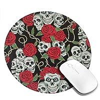 スカルと赤いバラ マウスパッド 丸型 20cm 滑り止め 防水 おしゃれ 洗える ビジネス用 家庭用 ゲーム用