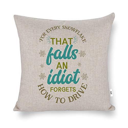 unknow Funda de almohada para cada copo de nieve que cae, un olvida cómo conducir, funda de almohada decorativa para el hogar, sofá, coche, funda de almohada cuadrada de algodón y lino