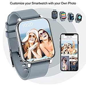 """Kalakate Smart Watch for Android iOS Phones, IP68 Swimming Waterproof Sport Watch for Men Women, Fitness Smartwatch with Heart Rate Monitor Sleep Tracker, 1.54"""" Large Screen (Black, Space Gray)"""