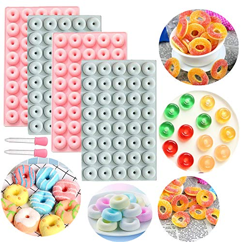 JeVenis 4 PCS Donuts Ice Cube Tray Mold Donuts Chocolate Mold Mini Candy Molds Jello Mold Gummy Mold with Silicone Dropper Clip