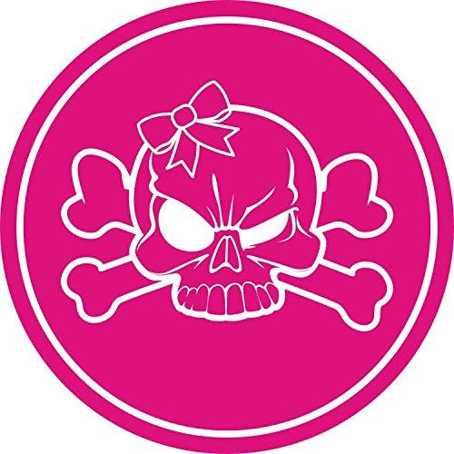 Aufkleber Totenkopf mit Schleife Girly I kfz_512 I Ø 4 cm I Skull Sticker für Motorrad-Helm Roller Fahrrad Laptop Handy Auto-Aufkleber pink wetterfest