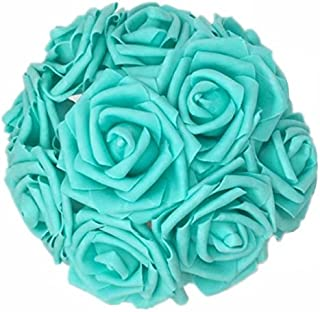 Celine lin Artificial Flowers 10Pcs Real Touch Artificial Roses for Bouquets Centerpieces Wedding Party Baby Shower Decorations DIY,Peacock Green