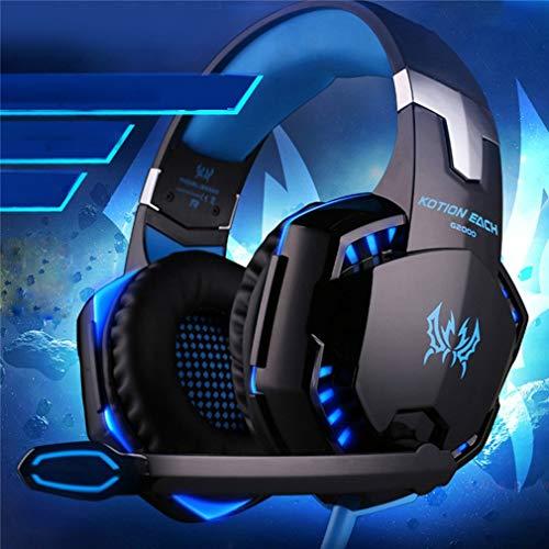 Gaming Headset voor PS4 Xbox One PC, G2000 Gaming-hoofdtelefoon met microfoon, LED-verlichting, Ruisonderdrukking voor laptop,Blauw