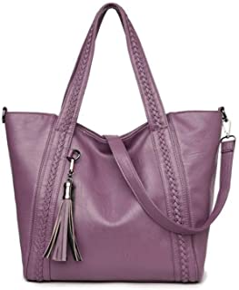AMAZACER Women Handbags Large Capacity, Fashion Satchel PU Leather Crossbody Tote Bags with Braided Tassel Designer Bags for Women (Color : Purple)
