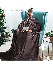 Catalonia 袖付き毛布 着る毛布 レディース ポケット付き 着るブランケット メンズ あったか ロング丈 かい巻き ガウン ソファーブランケット 防寒対策 お昼寝ブランケット 柔らかく肌触り 丸洗い 身丈180cm×横130cm(ブラウン)