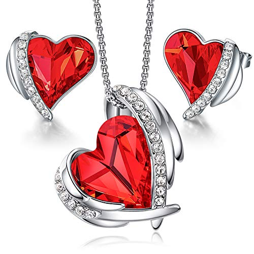 CDE Jewellery Sets Gifts for Women Love Heart White Gold Necklaces and Stud Earrings Set Anniversary Birthday Mother's Day Jewelry Gifts for Mum Her Wife