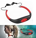 iTecoSky IPX8 Waterproof 8GB Underwater Sport MP3 Music Player Neckband Stereo Audio Earphone Headset Headphone Mini Portable Music Player with FM Radio for Diving Swimming Surfing Running etc (red)