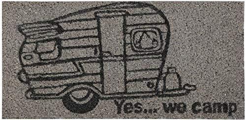 Bestgoodies Felpudo de fibra de coco gris, 25 x 50 cm (caravanas), otros diseños disponibles.