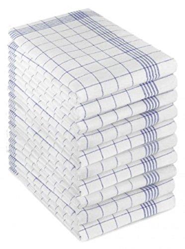 Gluecksshop 10er-Set Geschirrtücher - HALBLEINEN/Trockentuch/Küchentücher Blau-weiß-kariert 50x70 cm 55% Leinen - 45% Baumwolle (blau/Weiss)