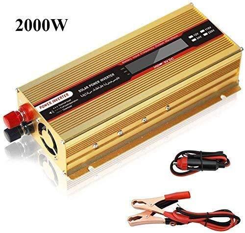 QJM AC convertidor de coche Pantalla Convertidor 2000W 1500W de energía de coche Inversor DC 12V a 110V AC / 240V Digital de carga USB Puertos salidas con encendedor de cigarrillos Enchufe del cable C