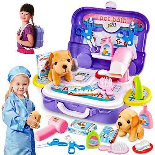 HERSITY Gioco Bambini Valigetta Veterinario Giocattolo Cane Peluche Zaino Salone di Bellezza per Animali Giochi 3 4 5 Anni Bambina