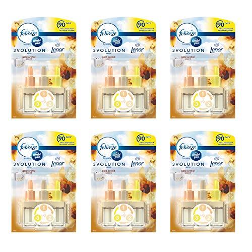 Ambi Pur Febreze 3volution Lufterfrischer für elektrische Steckdosen, Nachfüllpackung, Duft Gold Orchidee, 20 ml, 6 Stück