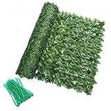 2 rollos de valla de hiedra artificial para cribado de setos artificiales de cribado de privacidad expandible para jardines, balcones y terrazas (incluyendo 200 bridas) 0,5 m x 3 m (hojas de uva)