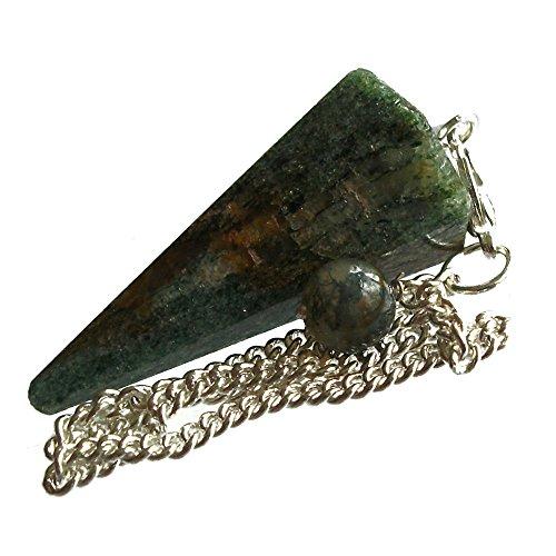 Péndulo cónico de cristal para radiestesia y sanación - gemas naturales genuinas (Fuchsita Verde)