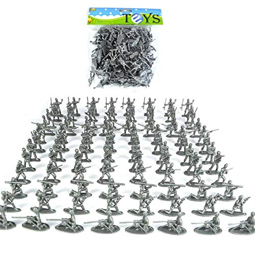 Plastic leger speelgoed Soldaten Set, 6cm, Toy Soldiers Military Army Men Action Figures Set (100 stuks),Silver