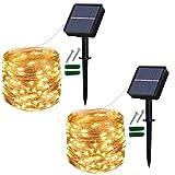 [Lot de 2] Guirlande Lumineuse Solaire Extérieur, 120 LED Guinguette Solaire Exterieure Étanche 12 m/40 ft 8 Modes décorative pour balcon, arbres, terrasse, mariage (Blanc Chaud)