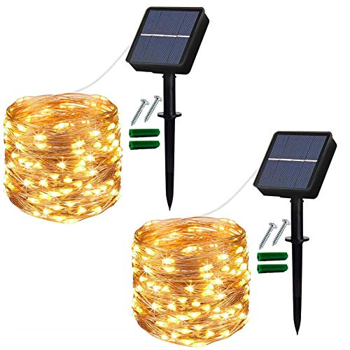 Solar String Lights Outdoor, 2 Pack 120 LED Solar Garden Lights Waterproof...