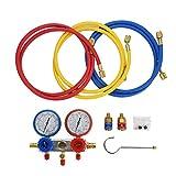 Refrigerant-0~500Psi Aire acondicionado Refrigerante Diagnóstico Juego de manómetros de tabla de colector de flúor