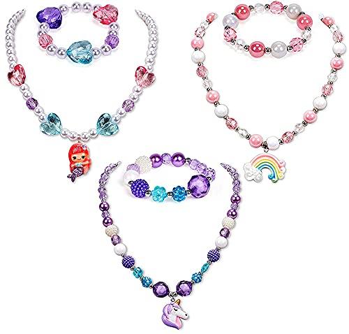 Collar de pulsera de unicornio de 6 piezas, pulseras unicornio para niñas, collar cuentas unicornio con colgante arcoíris sirena, pulsera de la amistad para niños, regalo cumpleaños para niños