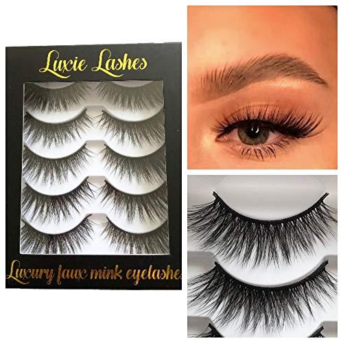 LUXIE LASHES 3D Luxury Fluffy Faux Nerz natürliche Streifen gefälschte lange Wimpern Multipack - 5 Paar Pack Grausamkeit frei … (Amara)