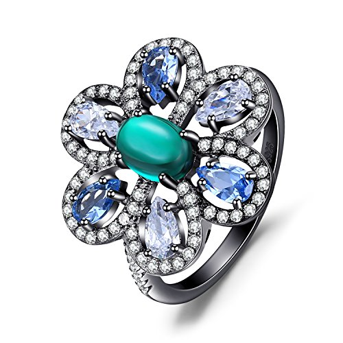 Jewelrypalace Luxury 4.8ct Nano Russian Simulated Emerald Erstellt Light Blue Spinell Cocktail Ring Schwarz Vergoldung 925 Sterling Silber