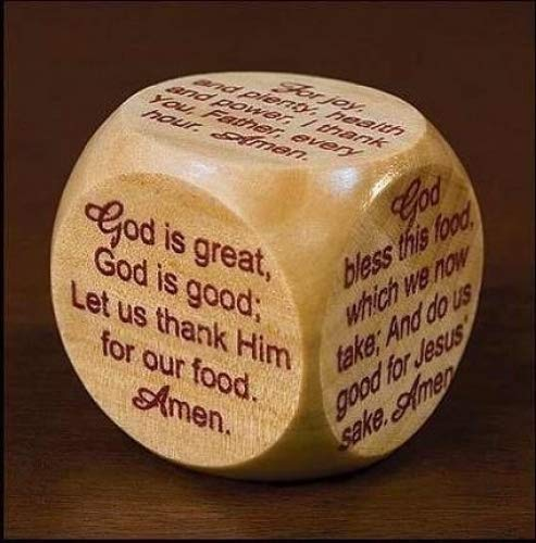 Wooden Mealtime Prayer Cube for Children and Families