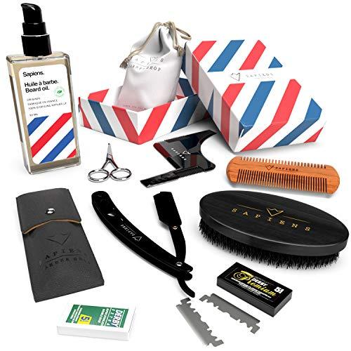 Bartpflege Set für Männer Sapiens | 100% natürlichem Bartöl MADE IN FRANCE 50ml | Bart-Zubehör : Rasiermesser set | Bartkamm | Bartbürste | Bartschablone | Schere | Beutel | Geschenk-Set für Männer