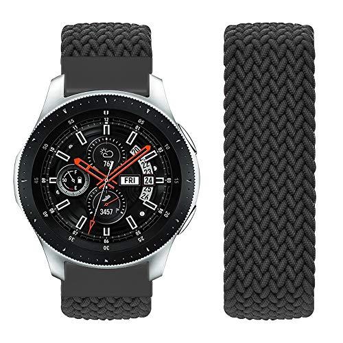Vozehui Kompatibel mit Samsung Galaxy Watch 46mm Armband/Galaxy Watch 3 45mm/Gear S3 Frontier/Gear S3 Classic, 22mm elastisch atmungsaktiv weiches Nylon Loop Stoff Sport Ersatzband, Damen Herren/M