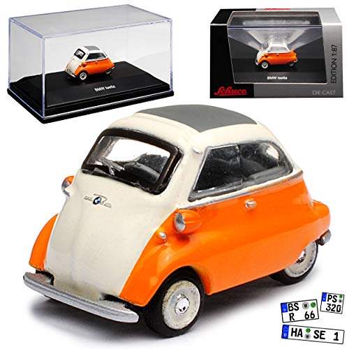 B-M-W Isetta Orange Weiss 1955-1962 H0 1/87 Schuco Modell Auto