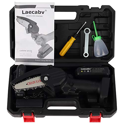 Laecabv Mini Chainsaw 4-Inch 2Pcs Batteries Cordless Electric Chain Saw, Portable One-Hand 0.7kg, Pruning Shears Chainsaw for Tree Branch Wood Cutting (Black)