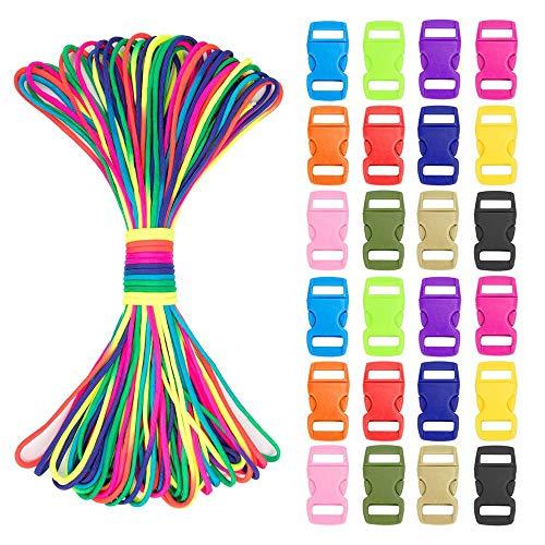 Ritte 16 Piezas Paracord Kit Pulsera, Incluye Cuerda Supervivencia Color Y Hebilla Plástico Hebilla Acero Inoxidable para Hacer Llavero, Mosquetón, Cuerda Supervivencia Al Aire Libre