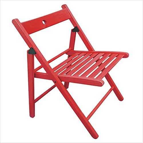 KSUNGB Chaise Pliante en Bois Hêtre Ergonomie Tabouret Salon Chaise à Manger Chaise Longue de Bureau Chaise d'étudiant Chaise d'ordinateur Chaises de Balcon Pliant Couleur Unie, Red