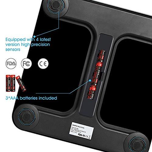 514DMOK6c L - Bascula de Baño Digital Grasa Corporal, RENPHO Balanza Bluetooth Inteligente con App, Bascula Electrónica con Análisis Corporal, 13 Mediciónes de Peso IMC Visceral e Muscular, Negro