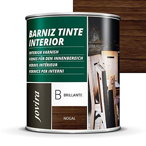 BARNIZ TINTE INTERIOR BRILLANTE, (6 COLORES), Barniz madera, Protege la madera, Decora y embellece la madera. (750ML, NOGAL)