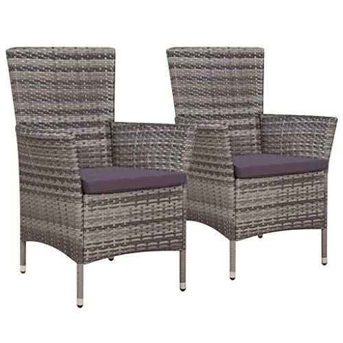 H.BETTER Garden Chairs 2 pcs Poly Rattan 22.8' x 24' x 34.6' with Removable Cushion Wicker Gray Patio Outdoor Chairs Set for 2