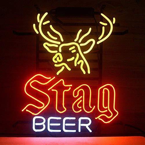 "Queen Sense 17""x14"" Stag Beer Deer Buck Neon Sign Beer Bar Pub Man Cave Business Glass Lamp Light DA14"