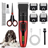 Pet Dog Cat Clippers Grooming Tool, Low Noise Hair Trimmer USB Rechargerable Cordless