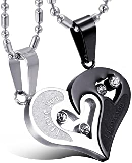 "JewelryWe Valentine Love Gifts 2pcs His and Hers Heart Stainless Steel Pendant""I Love You"" Promise Necklace Set - Black/Si..."