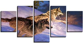 Lijome Canvas Art Wall Artwork Home Decor Prints 5 Pieces Two Wolves Running In The Snow Paintings For Living Room Poster