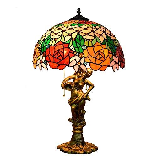 RGF Lámpara De Mesa Tiffany Style Beauty Base Glass Painting Gorgeous Rose D40CM * H64CM