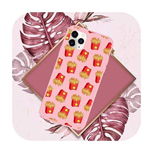Funda para teléfono móvil con diseño de hamburguesas y pizzas, color rosa caramelo para iPhone 11 12 Mini Pro XS MAX 8 7 6 6S Plus X SE 2020 XR-a9-iPhoneX o XS