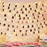 Photo Clip String Lights 100 LED 33 Ft - Fairy String Lights with 100 Clips 8 Modes USB/Battery Operated Waterproof Decor Lights for Dorm Bedroom Party Wall Decor Wedding Decorations