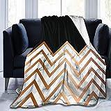 N/A Ultraweiche Micro-Fleecedecke, Marmor-Design mit goldenen geometrischen Linien, schwarz, warme Überwurfdecke für Couch, Bett, Wohnzimmer, 203 x 152,4 cm